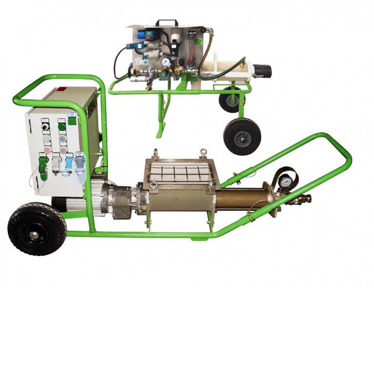 Powdery materials: OWC in combination with a continuous mixer and a delivery pump