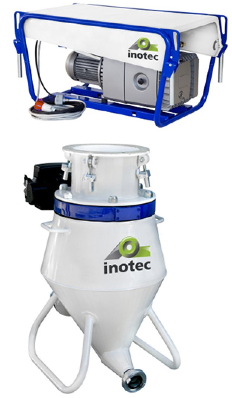 Mobile delivery system for inoTRANS FF 140 free-fall silos in corrosion-resistant design (galvanized & powder-coated)