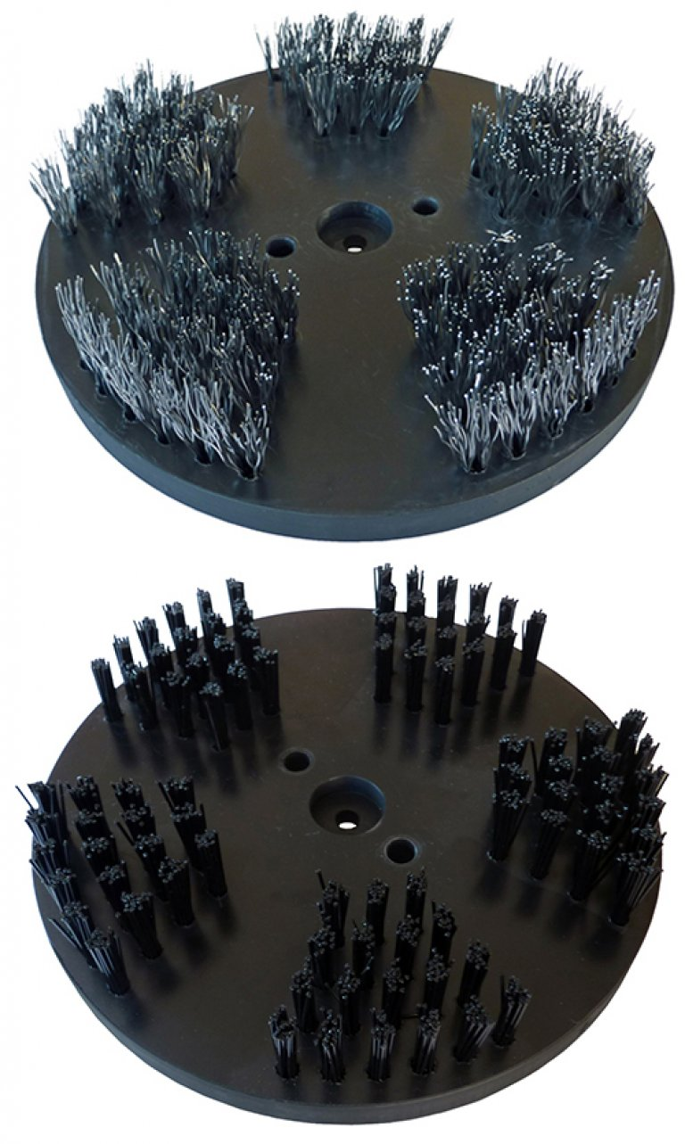 Steel- and Nylon brushes / Application: Cleaning (pair, 200 mm diameter each)